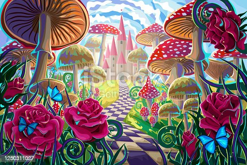"""istock fantastic landscape with mushrooms, beautiful old castle, red roses and butterflies. illustration to the fairy tale """"Alice in Wonderland"""" 1250311027"""