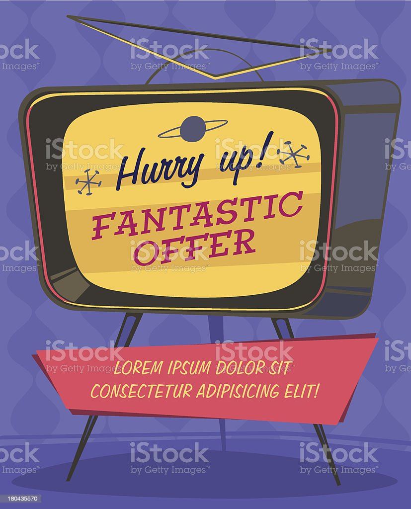 Fantastic offer on TV. Retro styled vector poster. vector art illustration