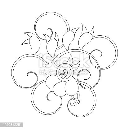 Fantastic pattern for anti-stress coloring pages. Doodle art design elements. Stylized flowers and leaves, Mehendi.