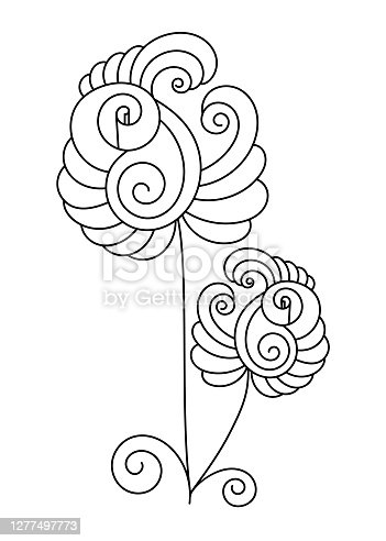 Fantastic pattern for anti-stress coloring pages. Doodle art design elements. Black and white pattern for coloring books for adults and children.