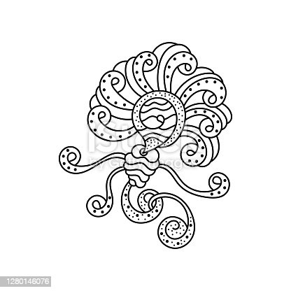 Fantastic pattern for anti-stress coloring pages. Doodle art design elements. Black and white pattern for coloring books