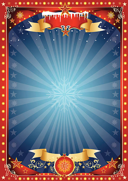 fantastische rote und blaue weihnachten-poster - weihnachtsmarkt stock-grafiken, -clipart, -cartoons und -symbole