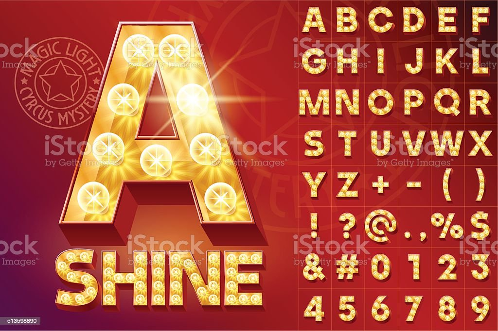Fantastic red vector light up font with lamp vector art illustration