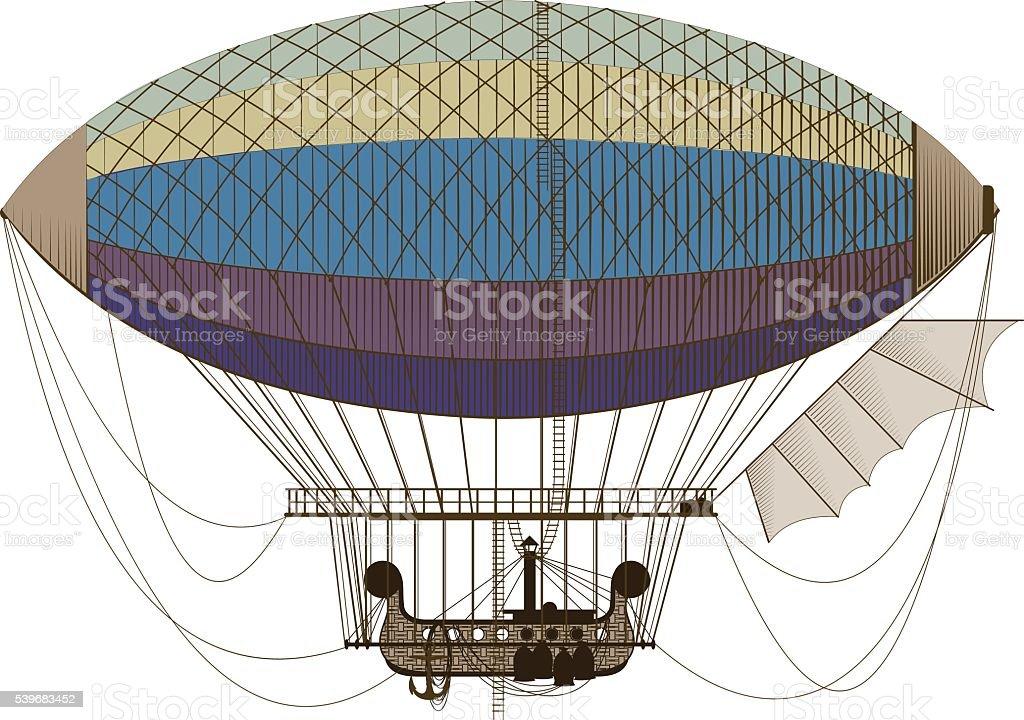 Fantastic retro dirigible vector art illustration
