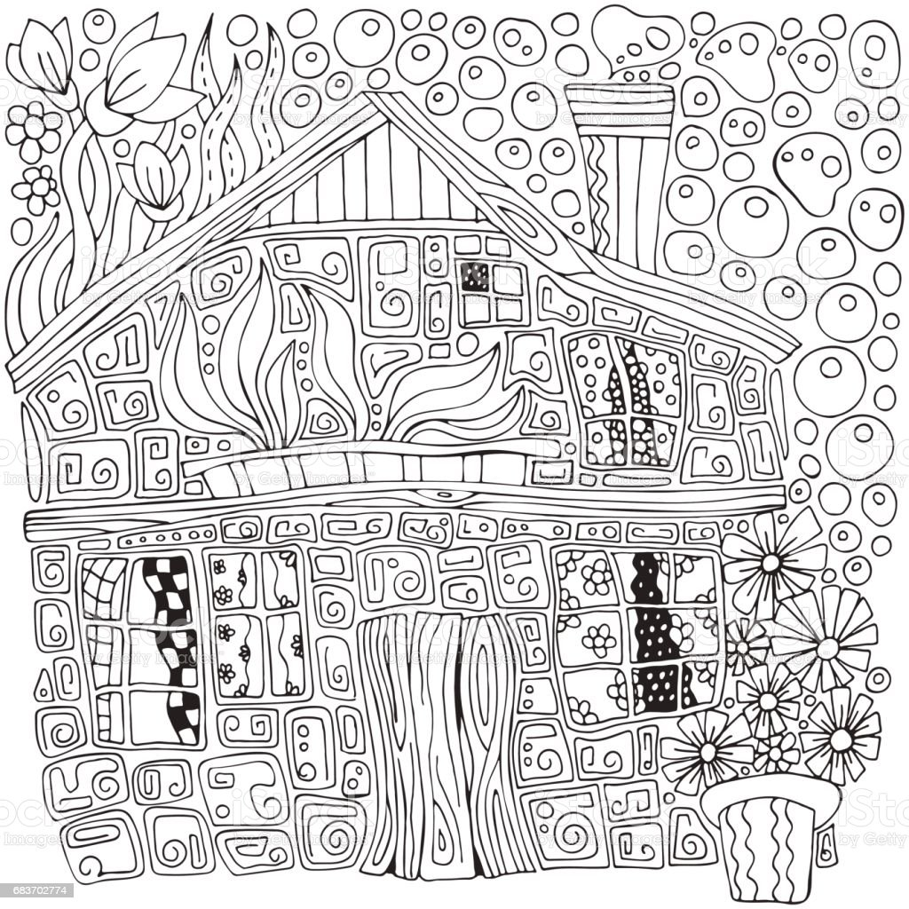 Fantastic rural house and flowers in pots. Doodle style. Black and...