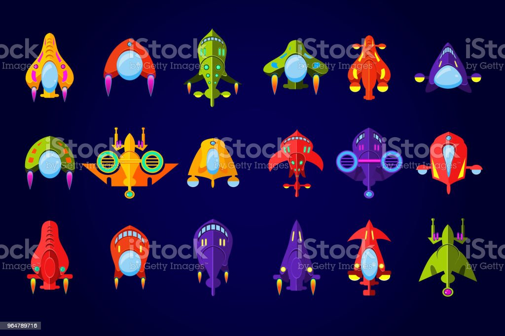 Fantastic spaceships set, ufo and rockets in space vector Illustration royalty-free fantastic spaceships set ufo and rockets in space vector illustration stock vector art & more images of art