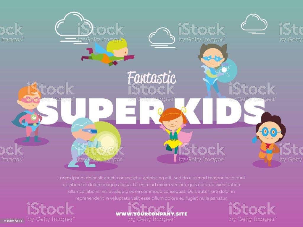 Fantastic Super Kids Banner With Children Stock Vector Art & More ...