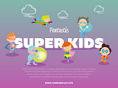 Fantastic super kids banner with children
