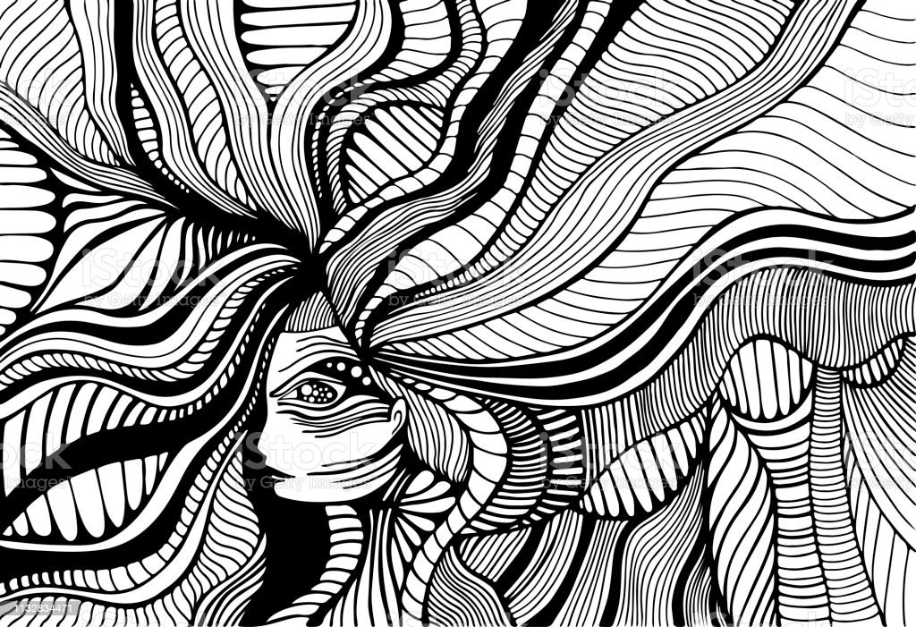 Fantastic surreal girl with wave hair, adult coloring page. Line art...