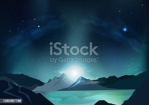 istock Fantasy abstract background, blue night scene with full moon, falling stars, outside planet, galaxy space concept, stars scatter on milky way, nature landscape vector illustration design 1080987788
