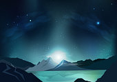 Fantasy abstract background, blue night scene with full moon, falling stars, outside planet, galaxy space concept, stars scatter on milky way, nature landscape vector illustration design