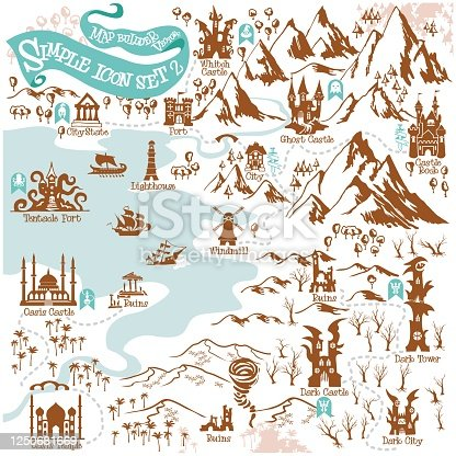 istock Fantasy Adventure map builder with simple icon elements in vector illustration format 2 1250681669