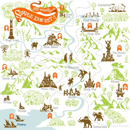 Fantasy Adventure map builder with simple icon elements in vector illustration format 3