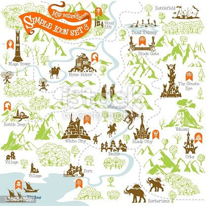istock Fantasy Adventure map builder with simple icon elements in vector illustration format 3 1286549597