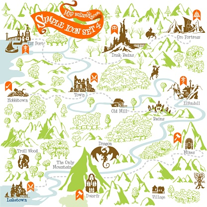 Fantasy Adventure map builder with simple icon elements in vector illustration format 4