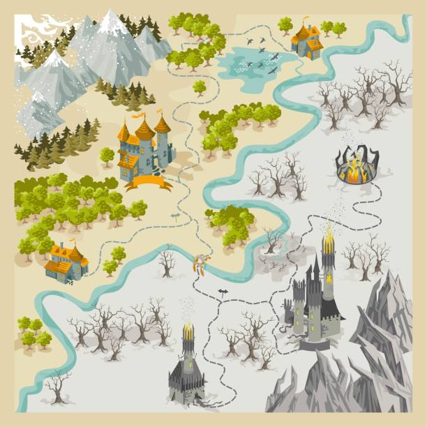 fantasy adventure map elements with colorful doodle hand draw in vector illustration - fantasy stock illustrations