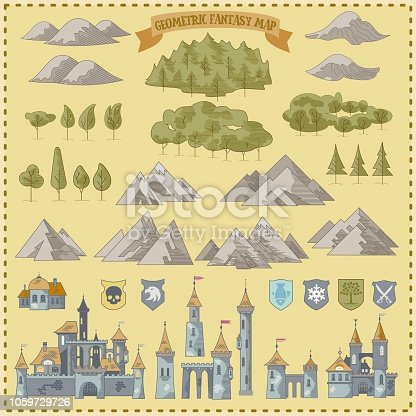 istock Fantasy Adventure simple map elements of geometric line art style in vector illustration format 1059729726