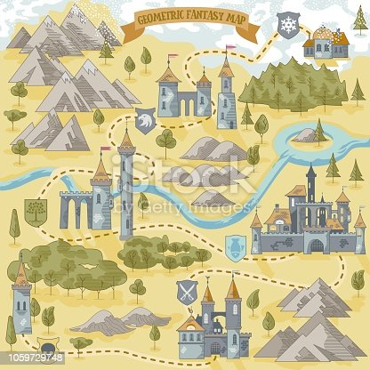 istock Fantasy Adventure simple map elements of geometric line art style in vector illustration format 1059729748