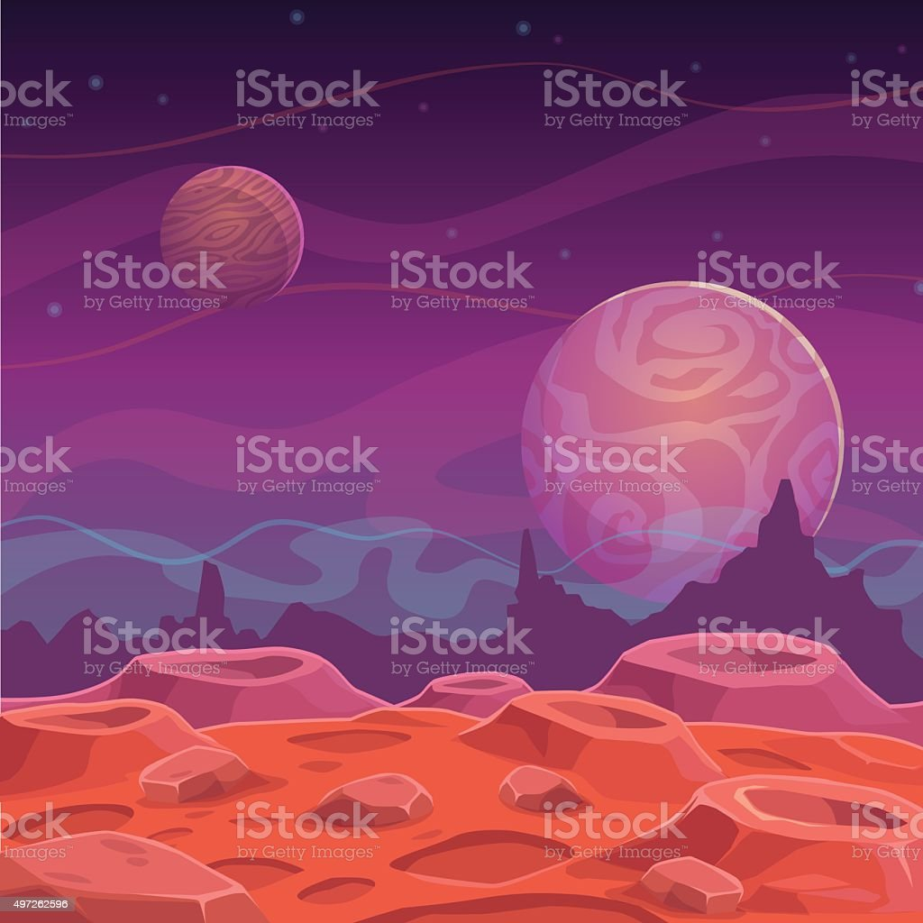 Fantasy alien landscape vector art illustration