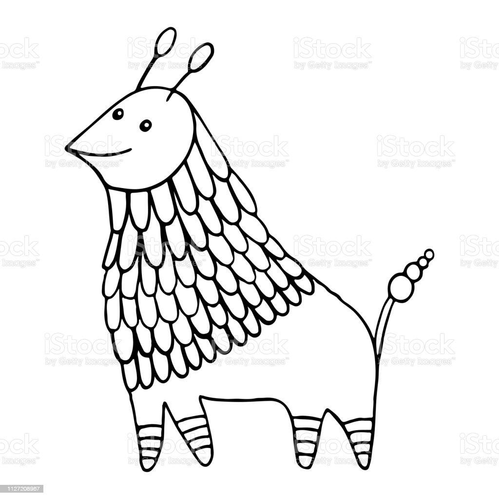Ilustración De Personaje Animal De Fantasía Decorativa Para Colorear