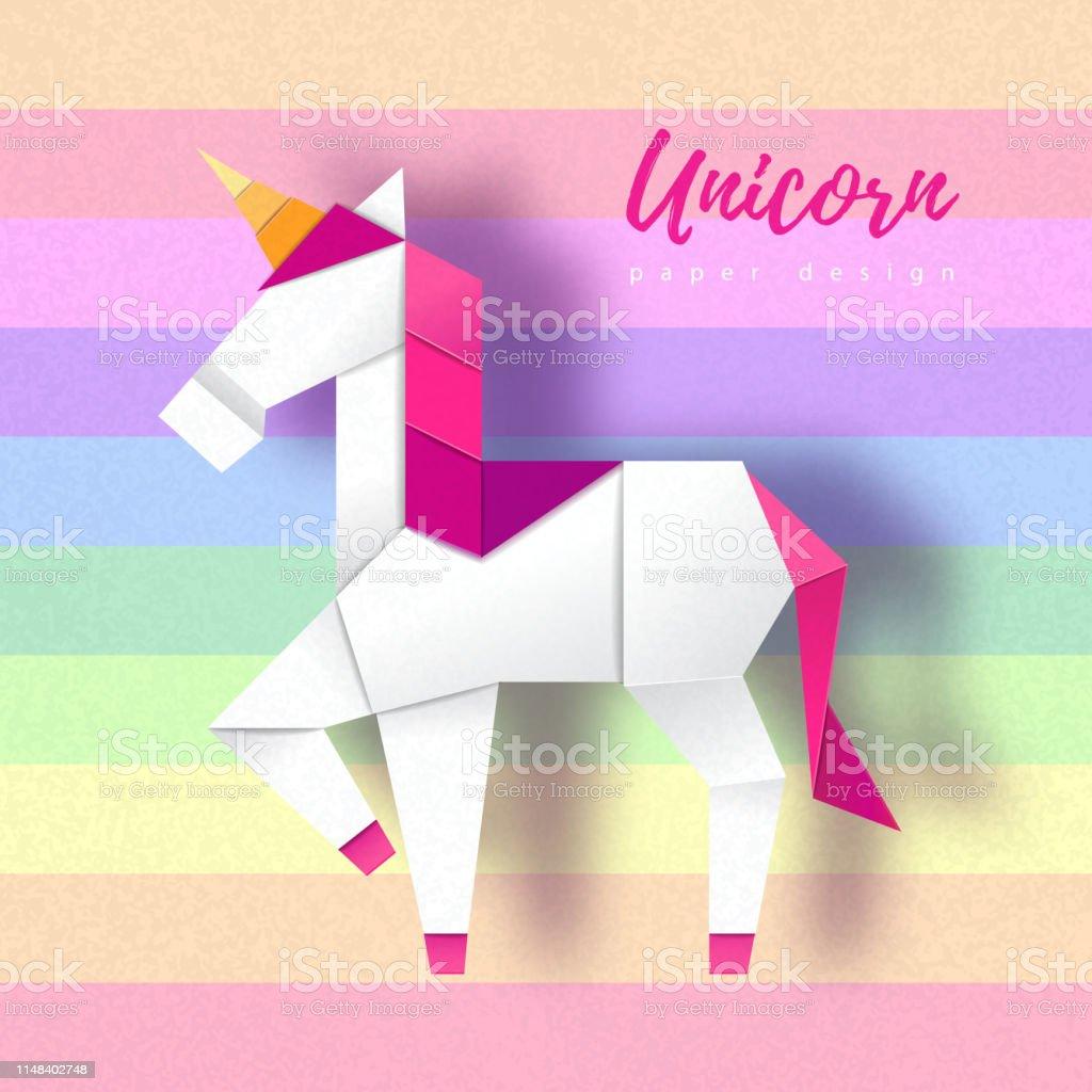 Fantasy animal horse unicorn. Cut out paper art style design. Origami