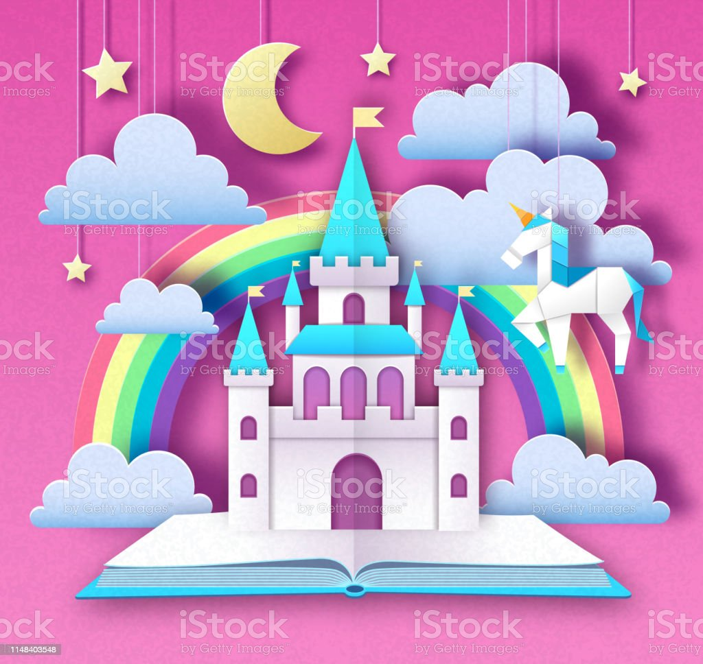 Fantasy animal horse unicorn with rainbow. Cut out paper art style...