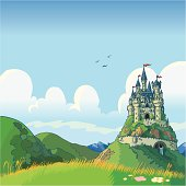Vector cartoon illustration of a fantasy background with rolling green hills and a castle in the distance.