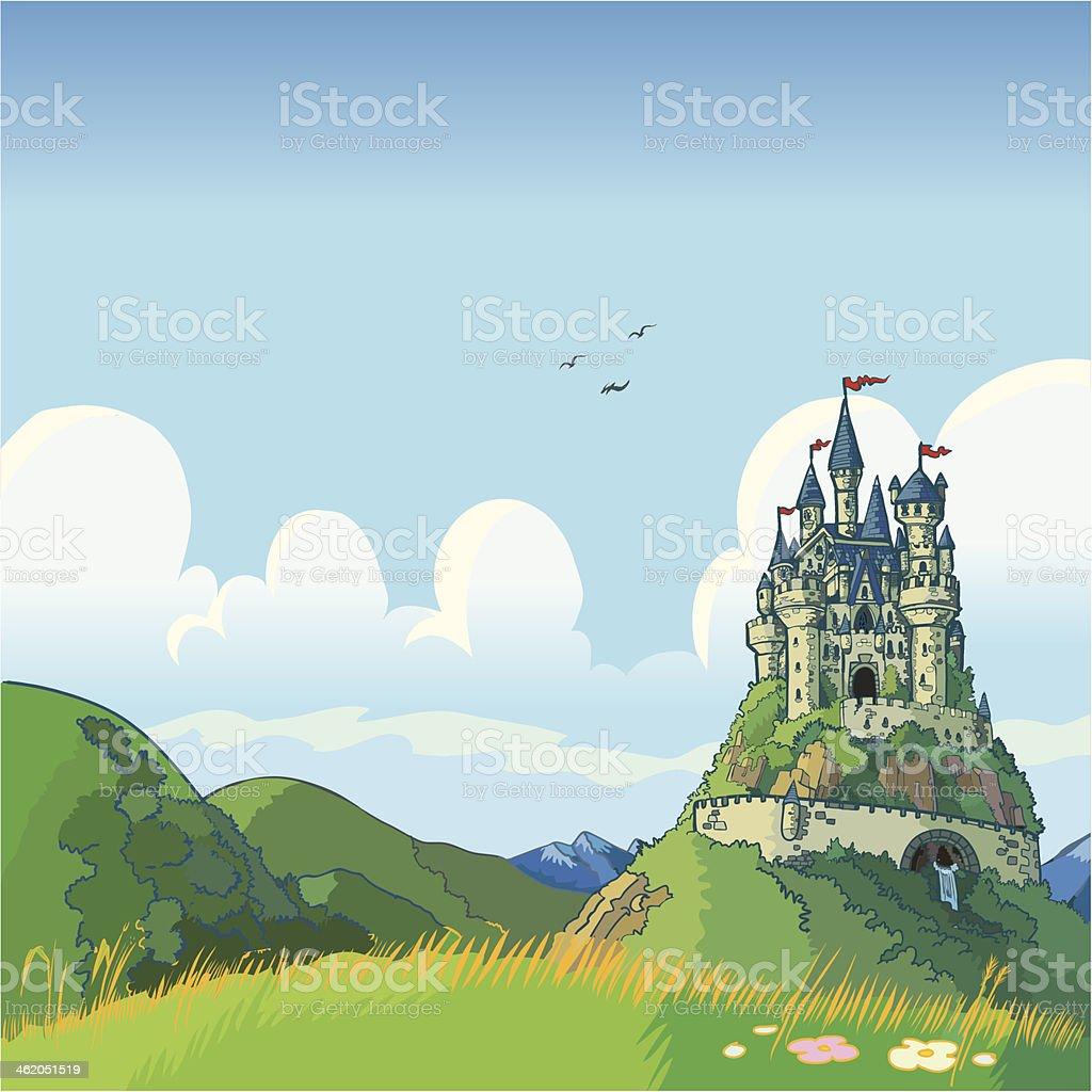 fantasy background with castle vector cartoon vector art illustration