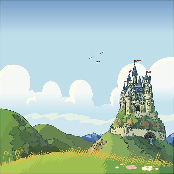 fantasy background with castle vector cartoon - castle stock illustrations