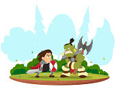 fantasy battle between the knight and orc.
