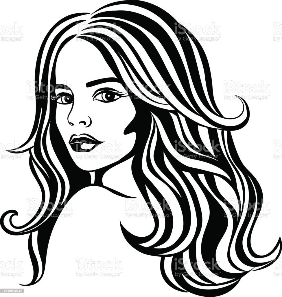 Fantasy Beautiful Woman Portrait with Long Wavy Hair vector art illustration