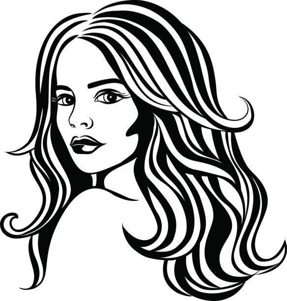 Fantasy Beautiful Woman Portrait with Long Wavy Hair vector art illustration