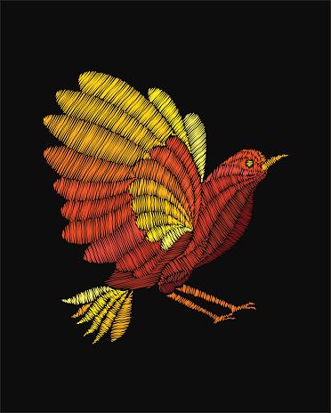 Fantasy bird embroidery