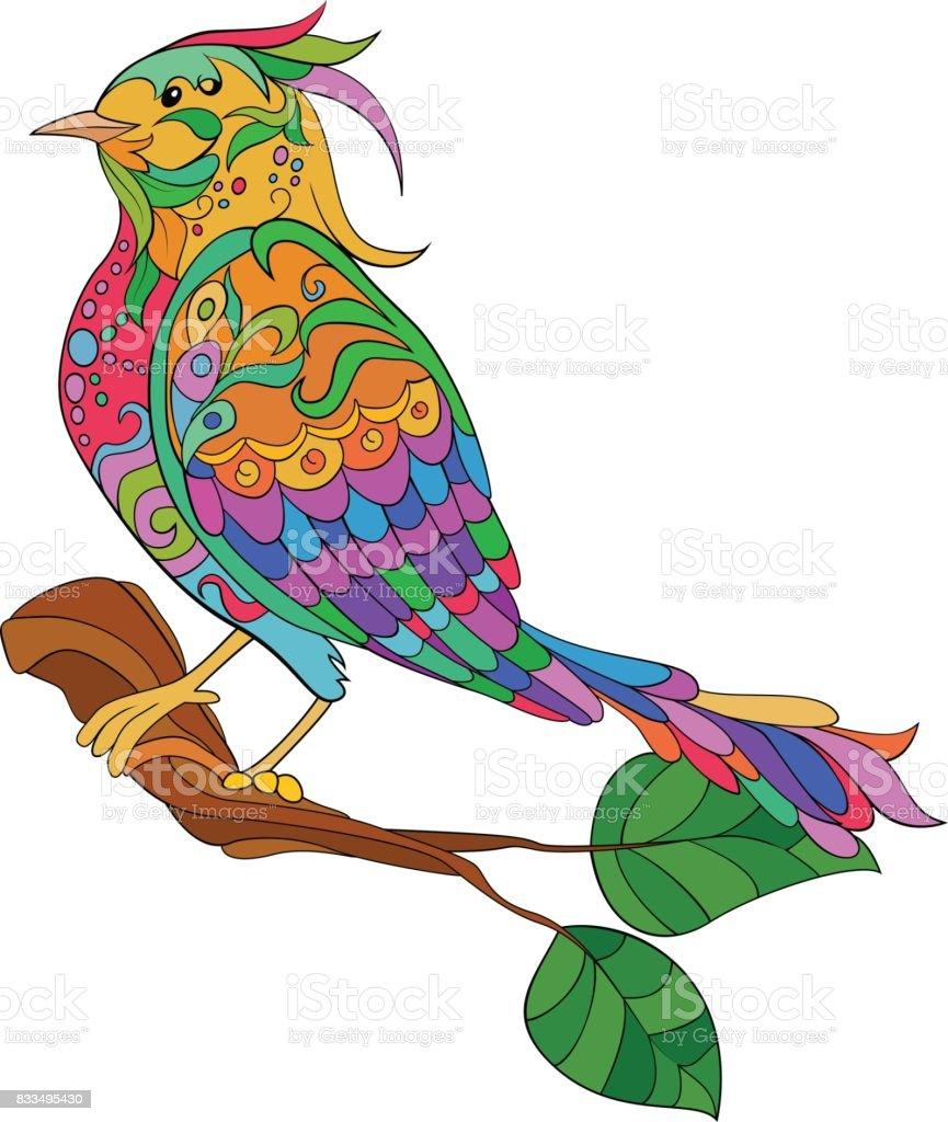 Ilustración de Aves De Fantasía Doodle Dibujado A Mano Página Para ...