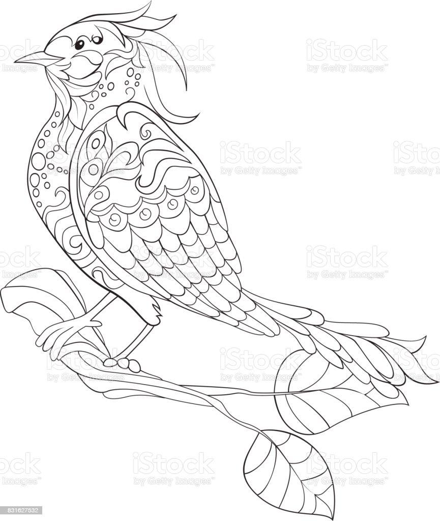 Kleurplaten Over Vogels.Fantasie Vogel Hand Getrokken Doodle Schets Voor Volwassen