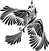 Fantasy bird stencil