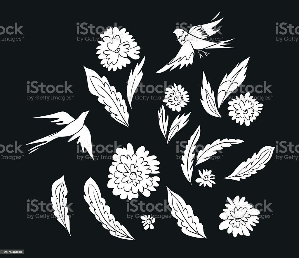 Fantasy birds and flowers ilustração de fantasy birds and flowers e mais banco de imagens de arte royalty-free