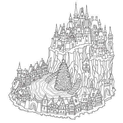 Fantasy Black and white urban landscape. Fairy tale medieval castle with Christmas tree on small town street. New Year greeting card, T-shirt print. Adults and children coloring book page