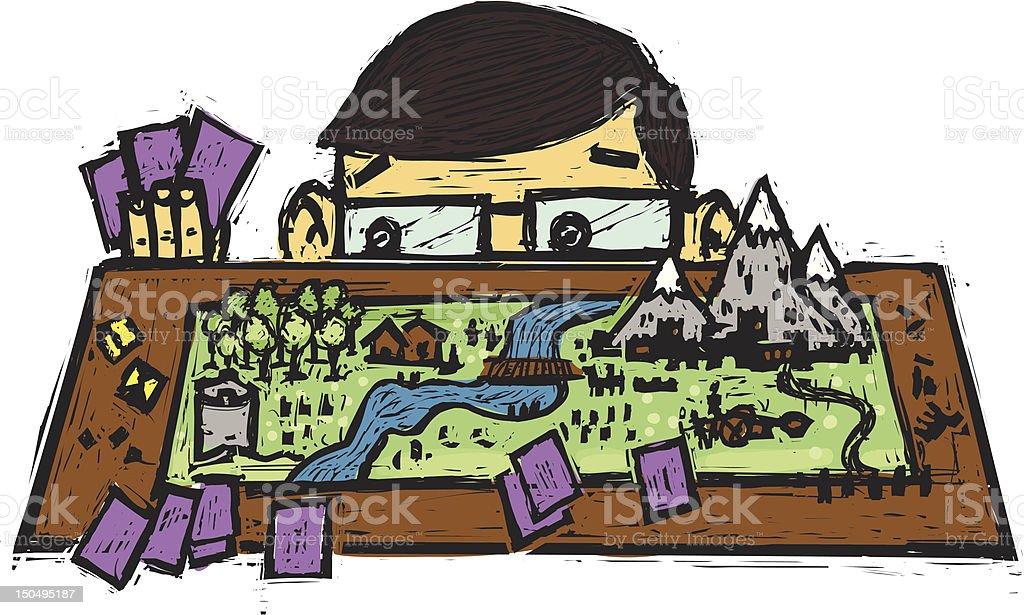 Fantasy board game vector art illustration