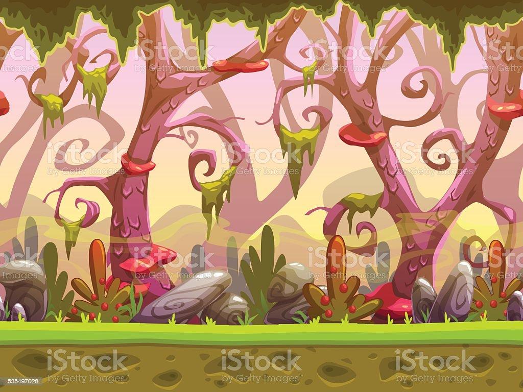 Fantasy cartoon forest seamless landscape vector art illustration