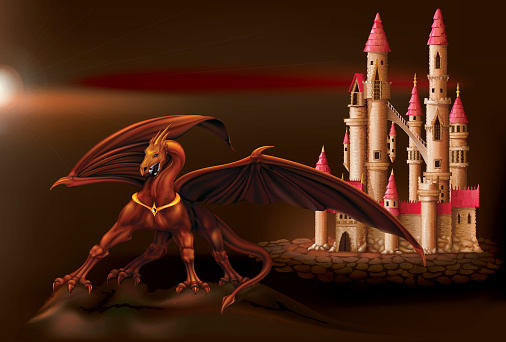 Fantasy castle and dragon