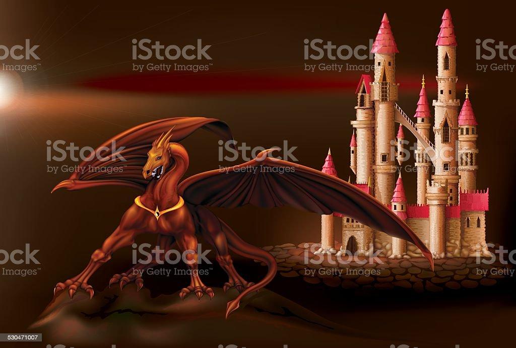Fantasy castle and dragon vector art illustration