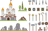 Fantasy Castle Game Weapons Screen Concept Adventurer RPG Flat Design Magic Fairy Tail Icon Isolated Template Vector Illustration