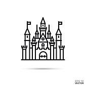 Fantasy castle flat line icon. Fairy tale palace vector illustration.