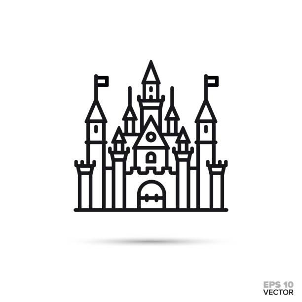 fantasy castle vector line icon Fantasy castle flat line icon. Fairy tale palace vector illustration. castle stock illustrations