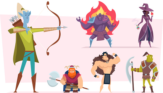 Fantasy characters. Fairytale humans and creatures elf orc demon giant vector cartoon personages