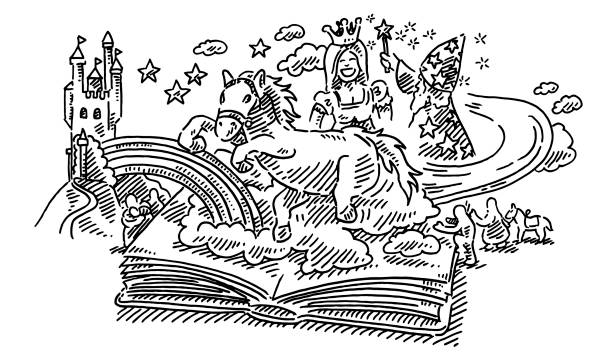Fantasy Childhood Fairy Tale Story Book Drawing Hand-drawn vector drawing of a Fairy Tale Story Book with Childhood Fantasy elements popping out, a galloping horse, a castle, a rainbow, a princess and a wizard. Black-and-White sketch on a transparent background (.eps-file). Included files are EPS (v10) and Hi-Res JPG. running stock illustrations
