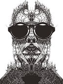 Pen and ink style illustration vector contour pattern of a face, nature and architecture. Fantasy