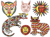 Watercolor fantasy animals collection isolated on white. Cats, lion's head, Sun and Moon in folk style. Vector ethnic hand drawn primitive set.