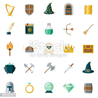 A set of 25 fantasy and role playing game (RPG) flat design icons on a transparent background. File is built in the CMYK color space for optimal printing. Color swatches are Global for quick and easy color changes.